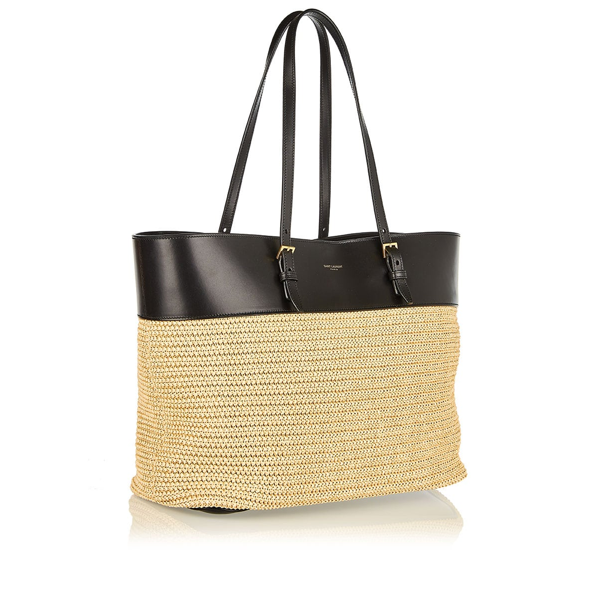 Boucle medium raffia and leather tote
