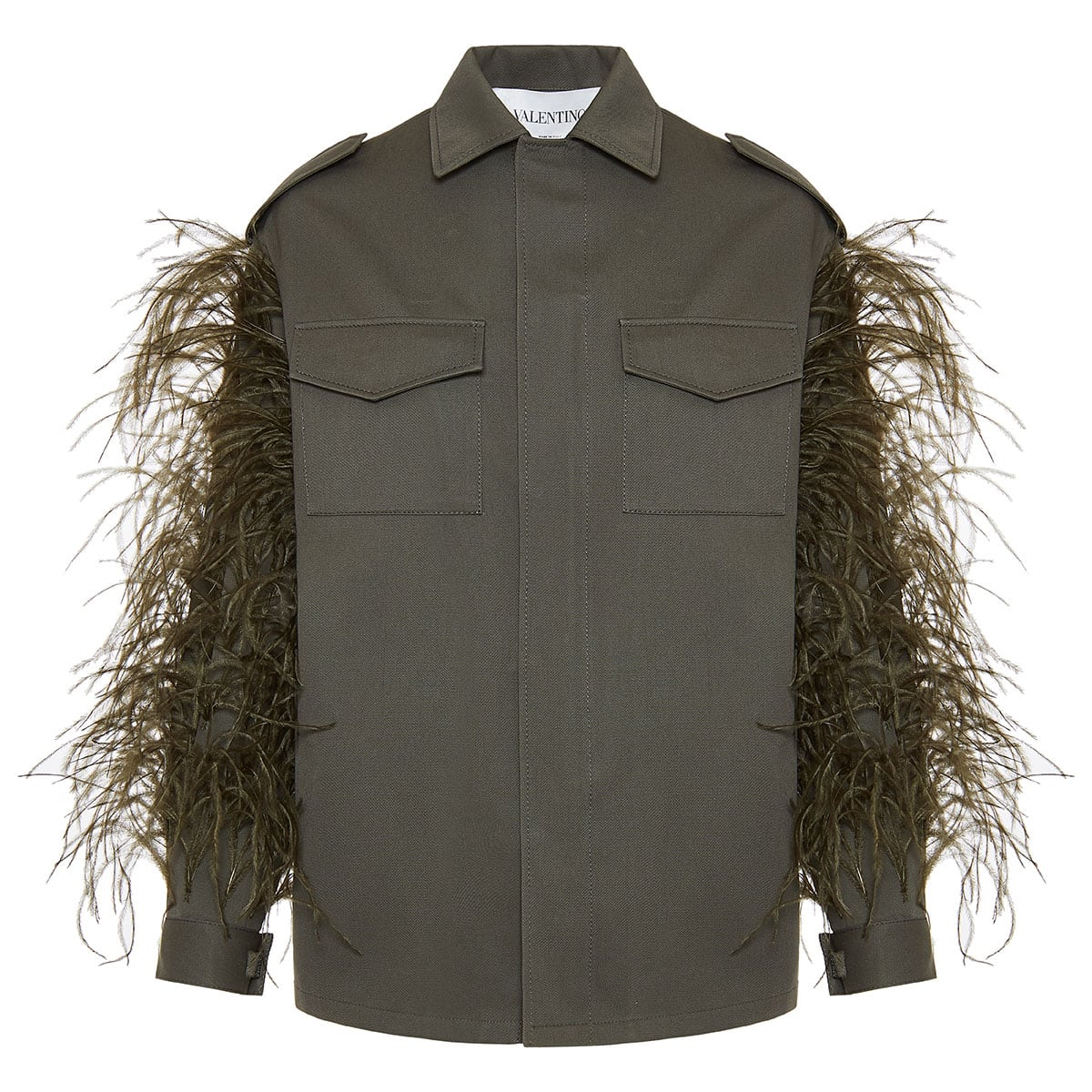 Feather-trimmed utility overshirt