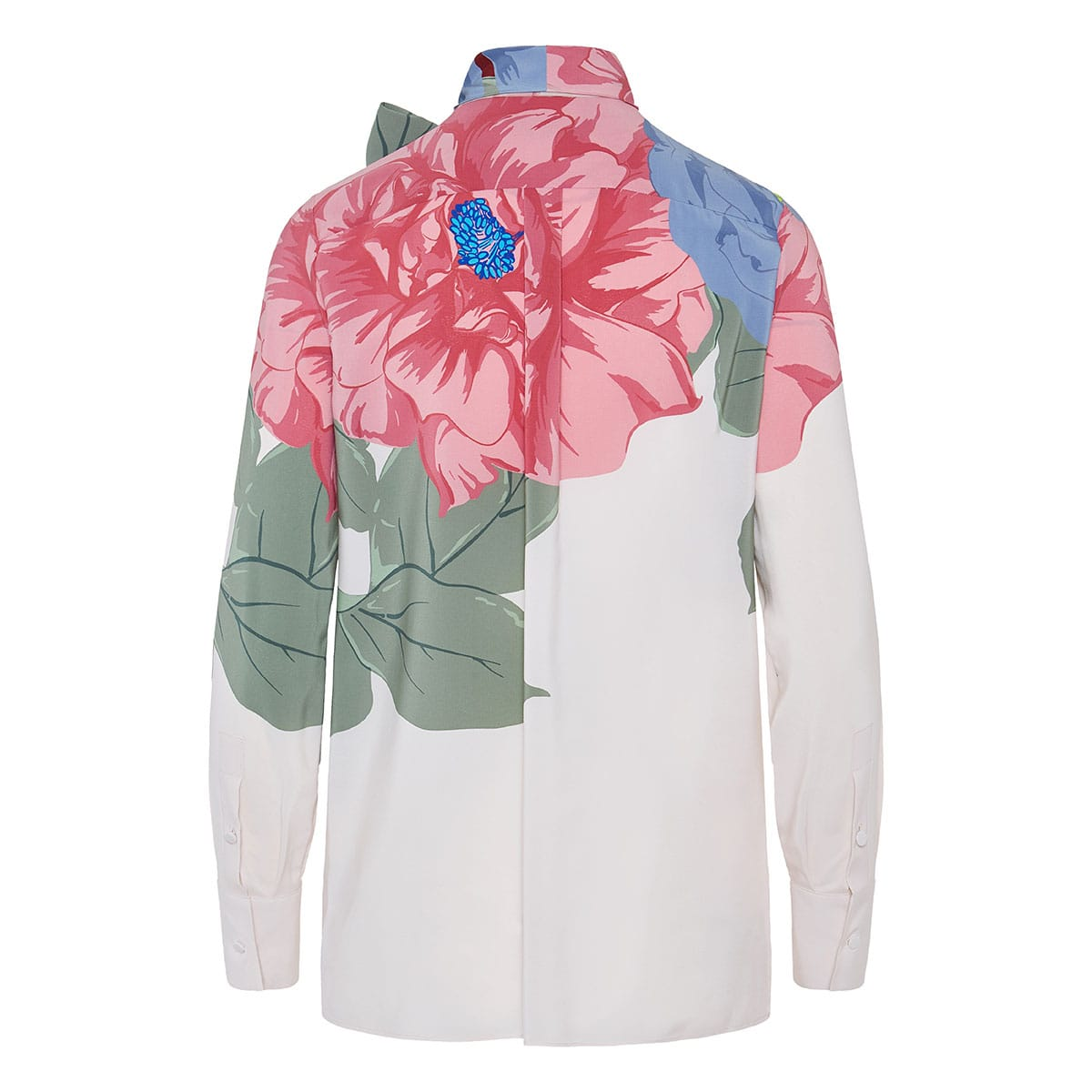 Bow-tie floral crepe shirt