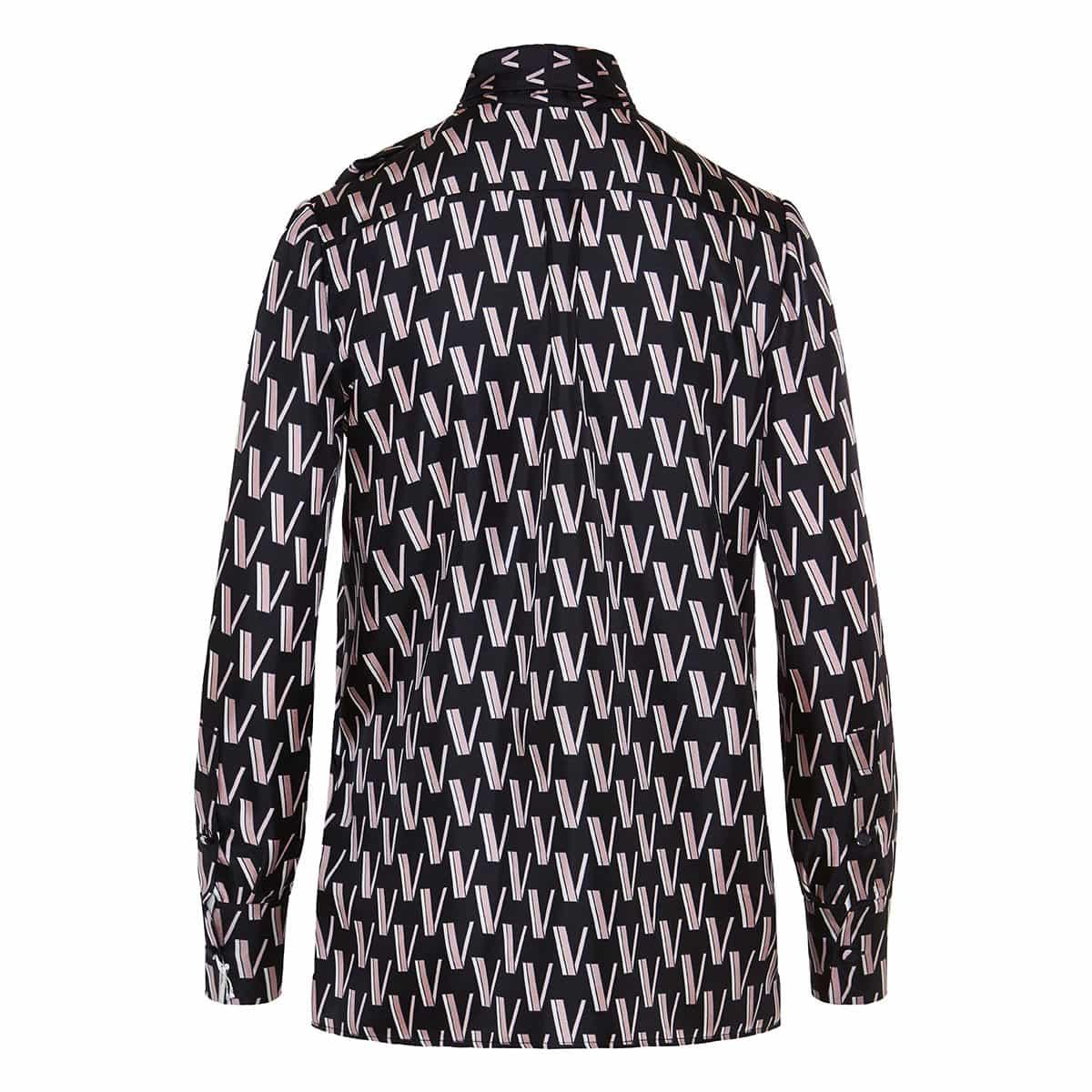 V-print bow-tie silk shirt