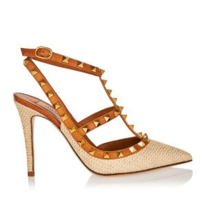 Rockstud Raffia and leather pumps
