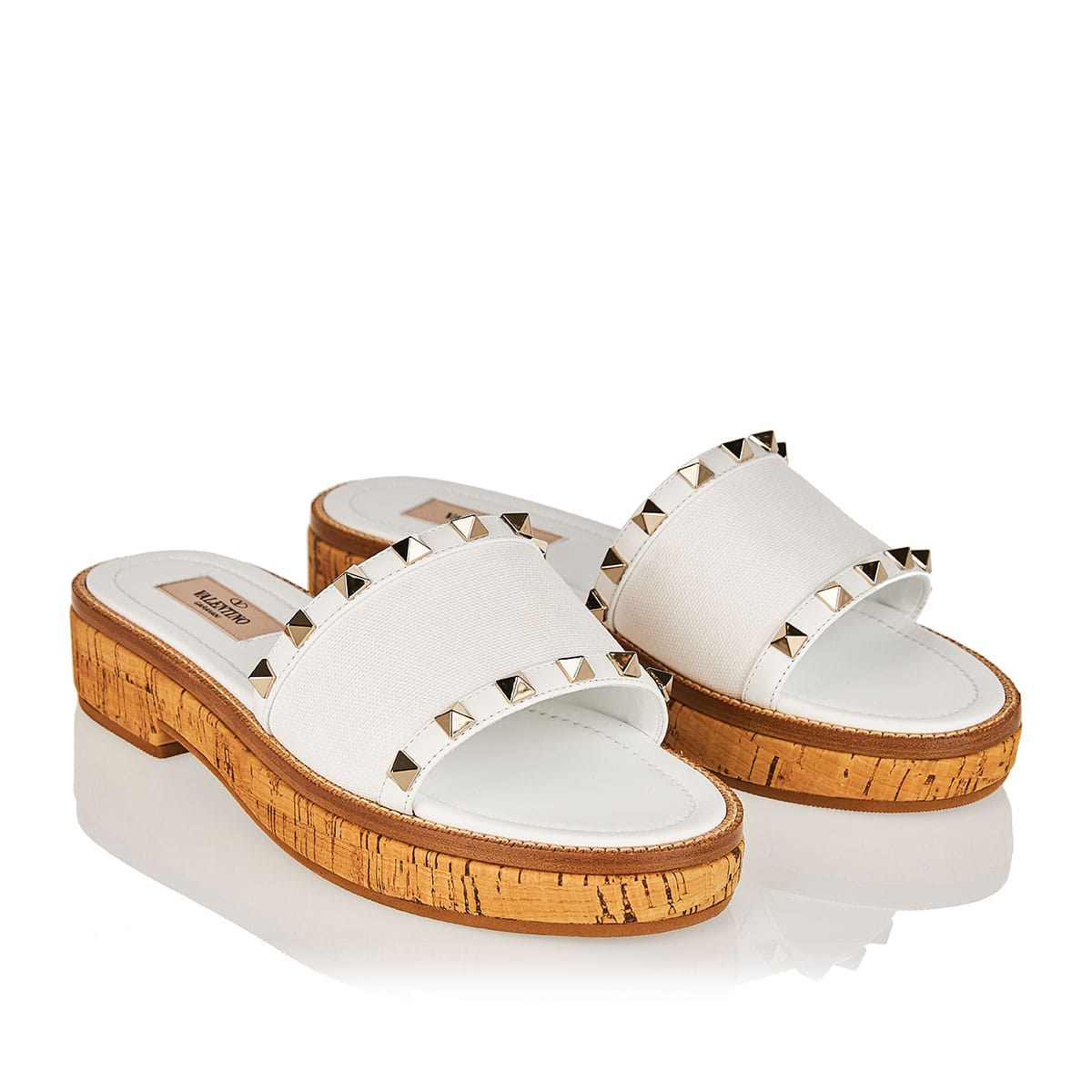 Rockstud leather and cork slides