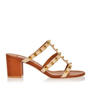 Rockstud canvas mules