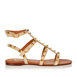 Rockstud flat canvas sandals