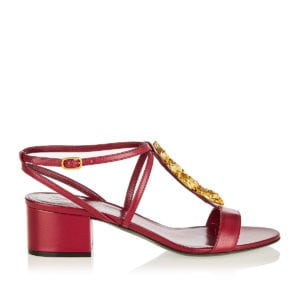Snake-embellished leather sandals
