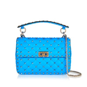 Medium Rockstud Spike fluo leather bag