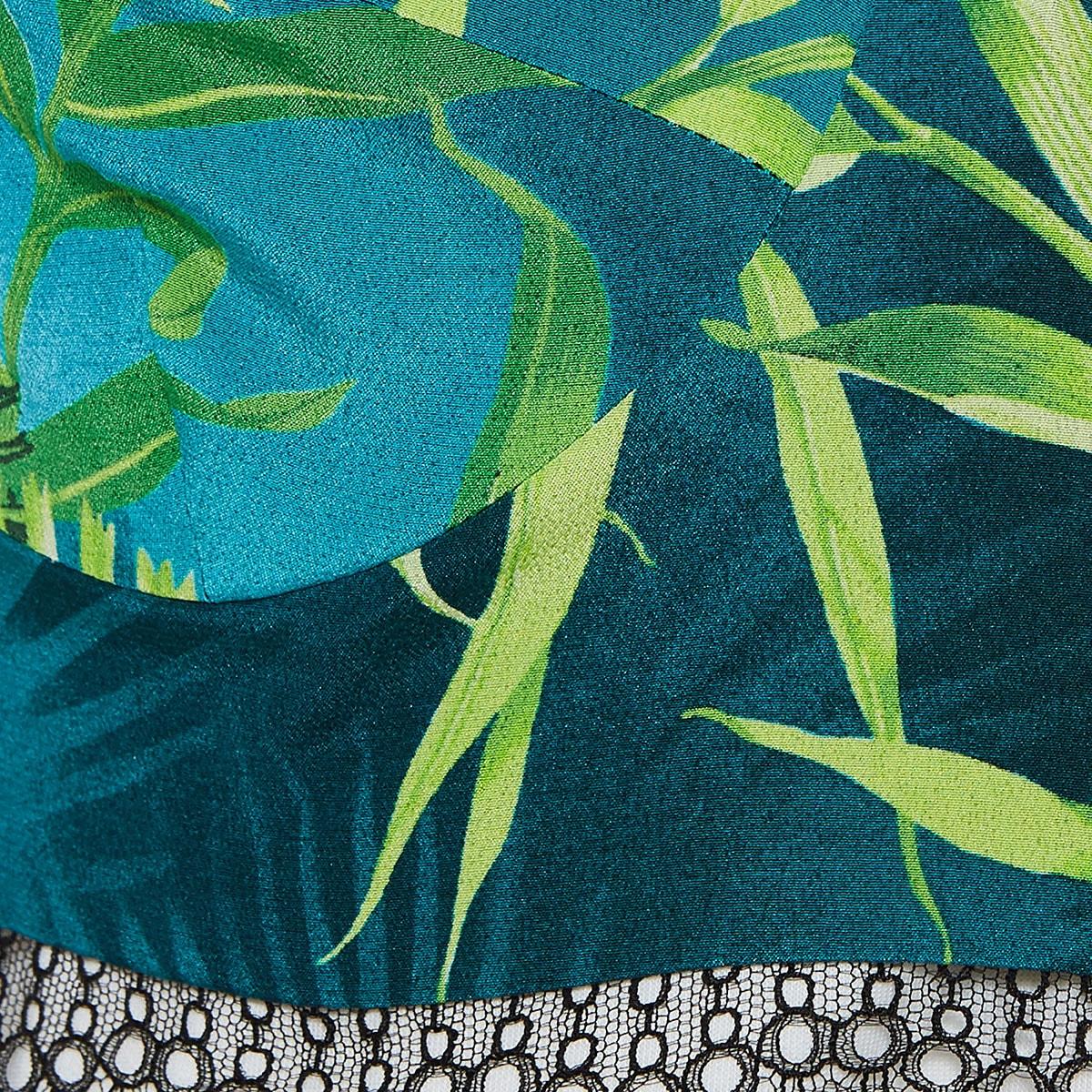 Lace-trimmed jungle print bralette top