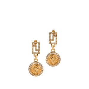 Medusa crystal-encrusted drop earrings