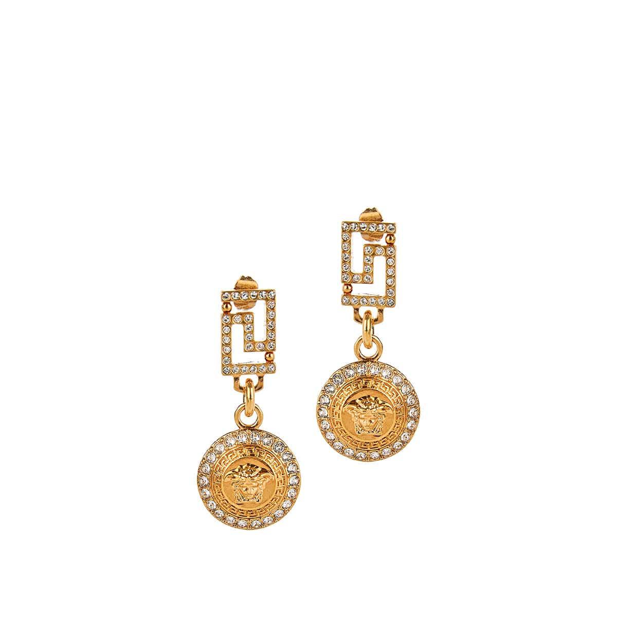 Medusa crystal-encrusted drop earrings