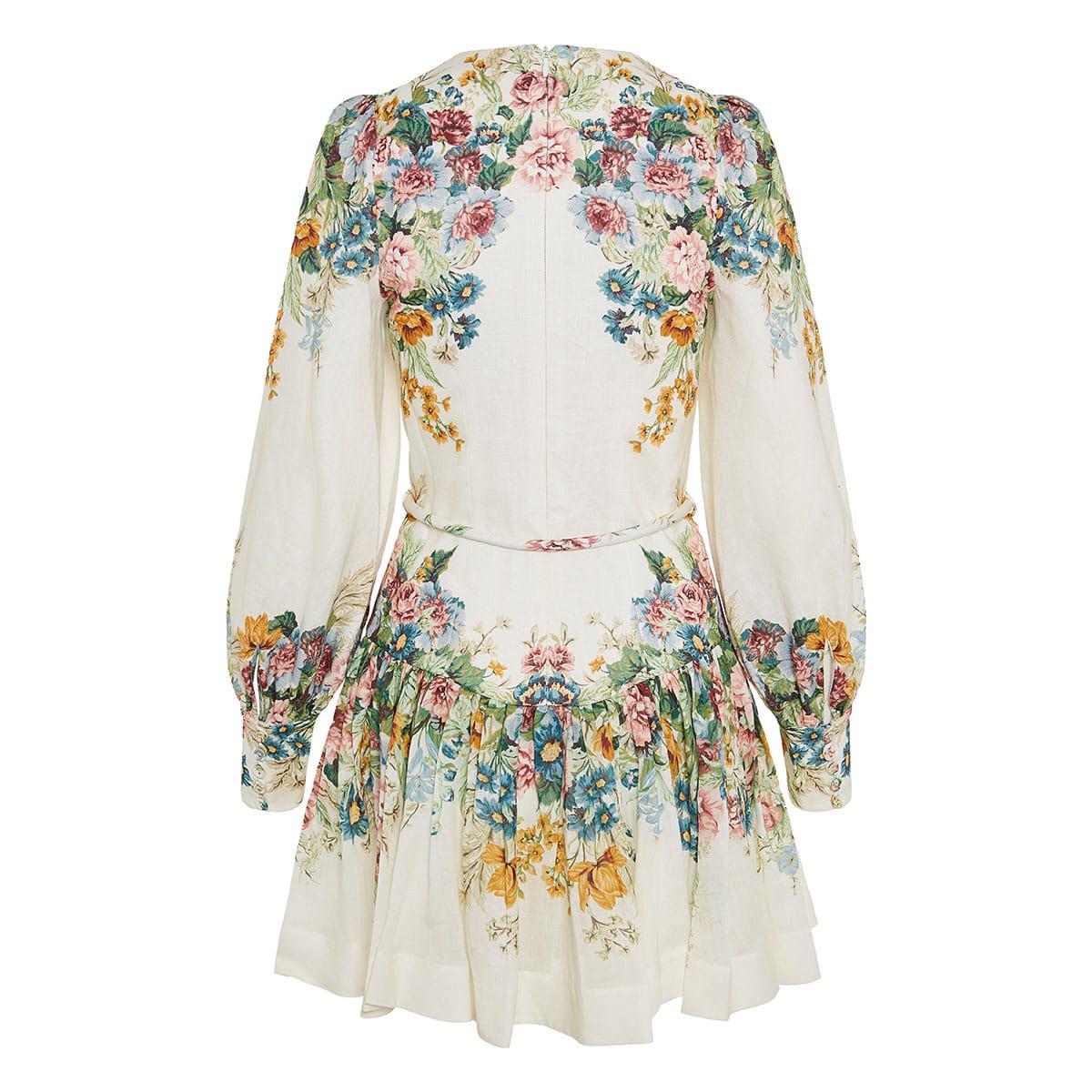 Wavelength balloon-sleeve floral mini dress