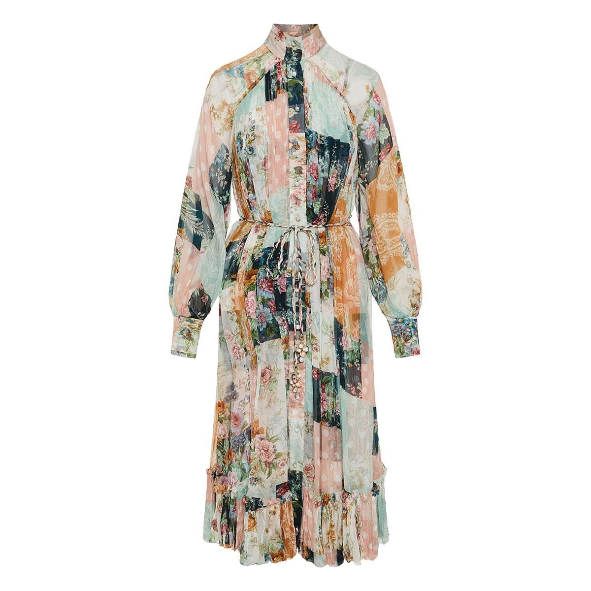 Wavelength Smock patchwork print midi dress