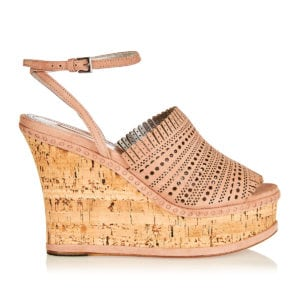 Laser-cut leather and cork wedges