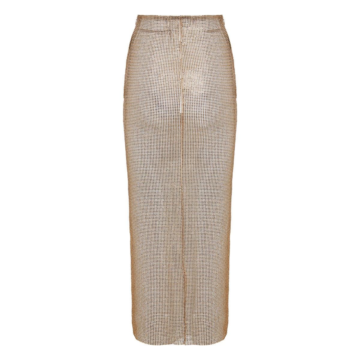 Crystal-mesh pencil skirt