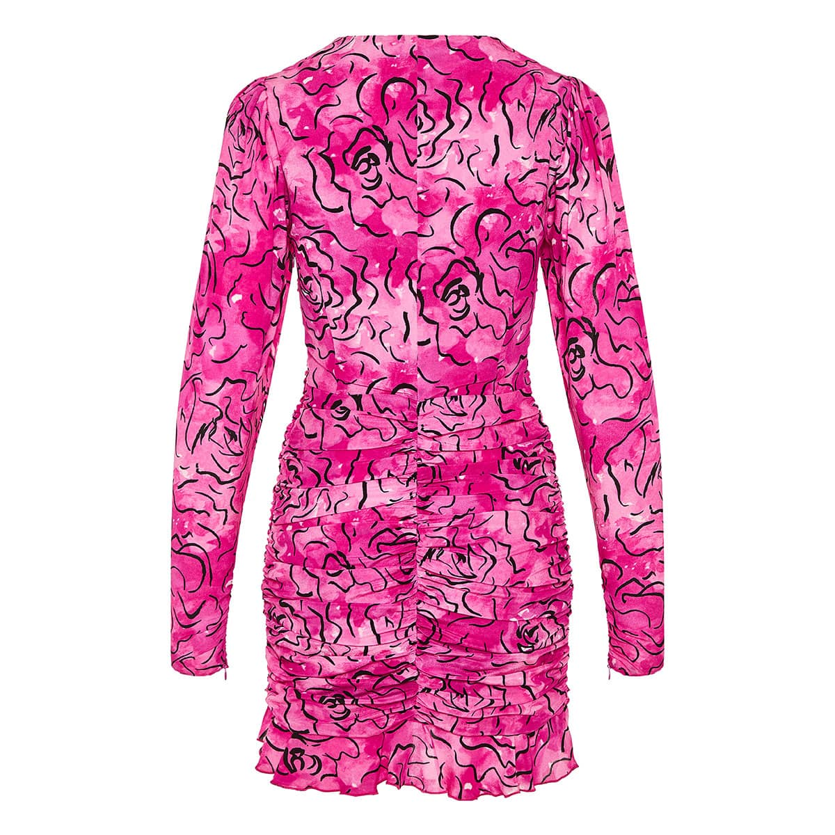 Printed ruched mini dress
