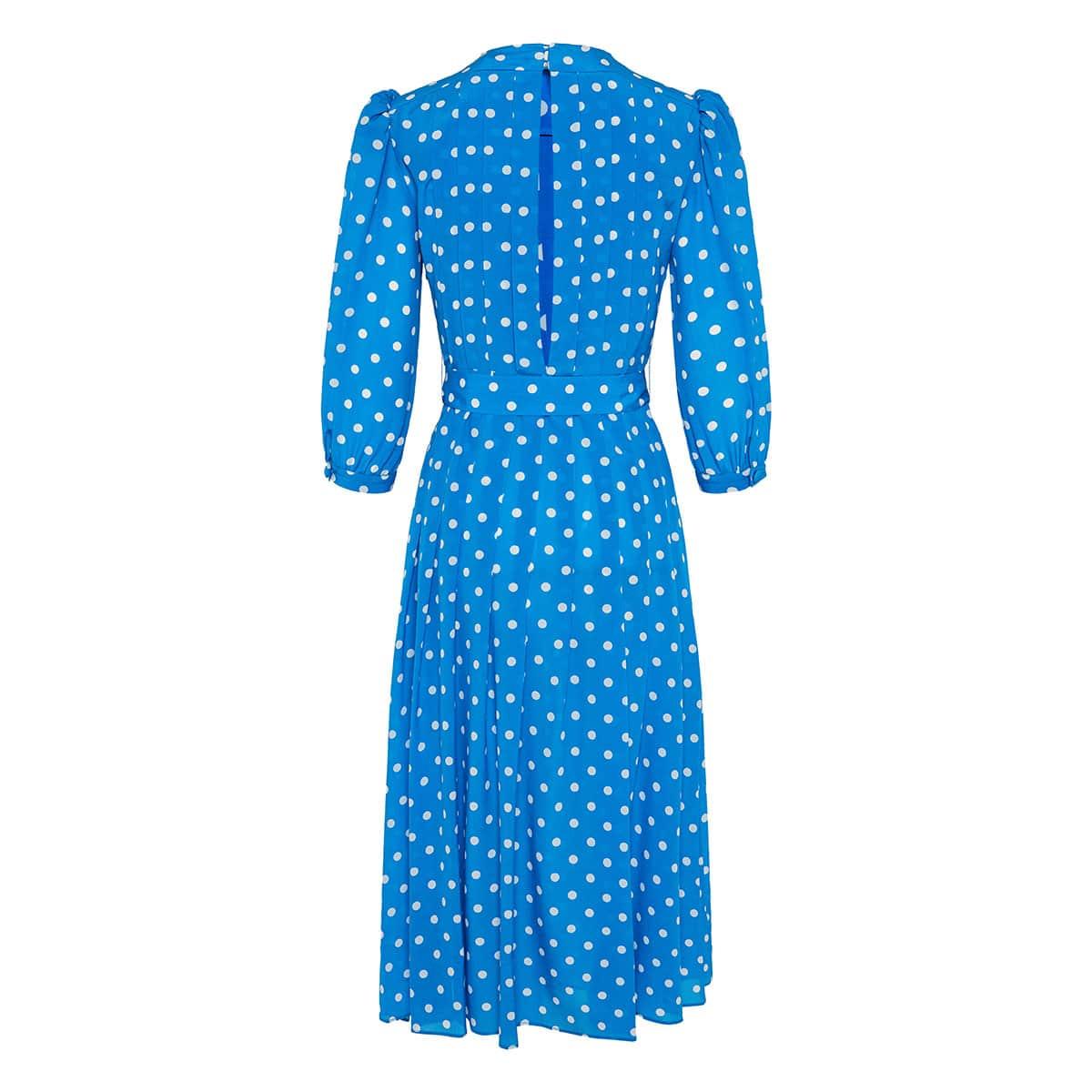 Embellished polka-dot pleated midi dress