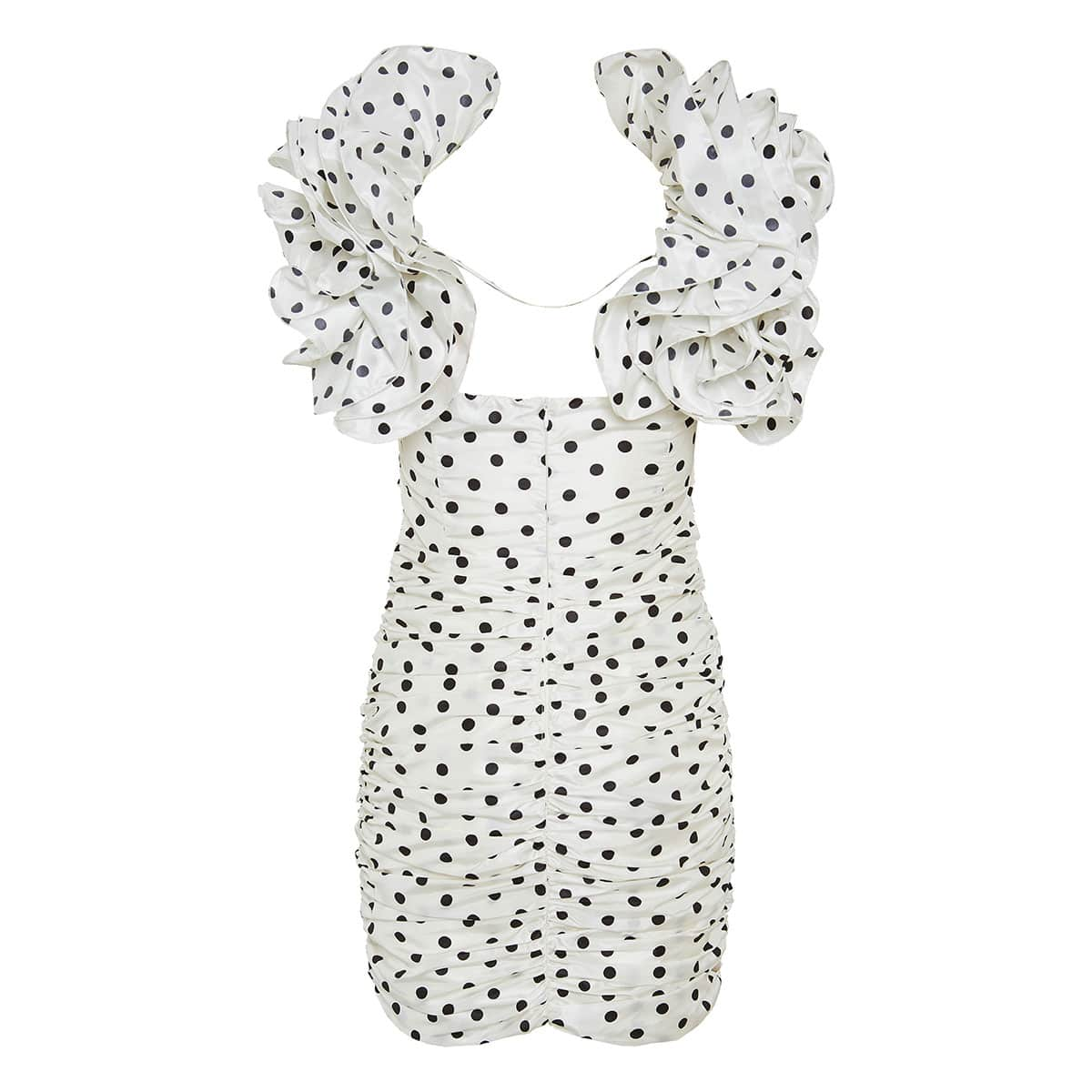 Ruffled-shoulder polka-dot mini dress