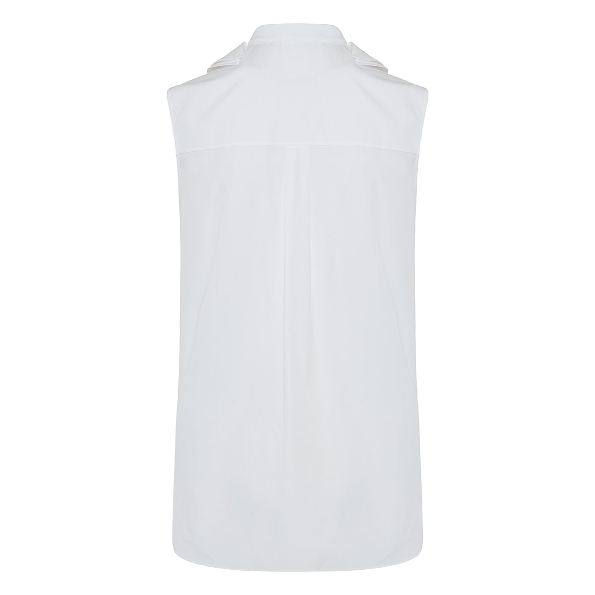 Ruffled-bib sleeveless poplin shirt
