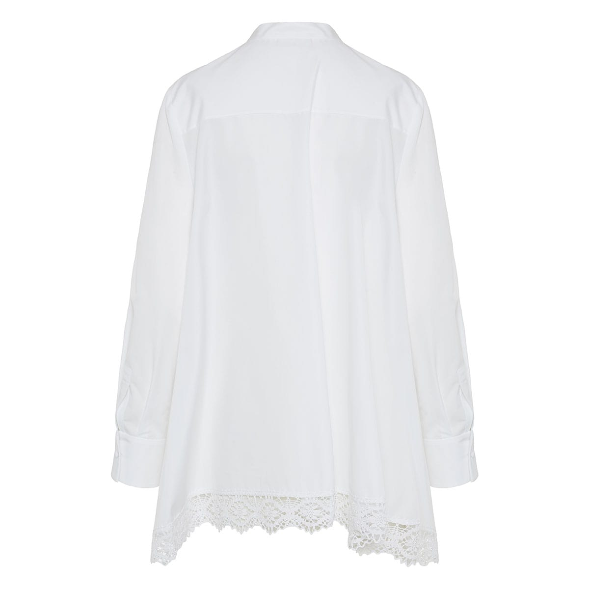 Lace-trimmed asymmetric draped shirt