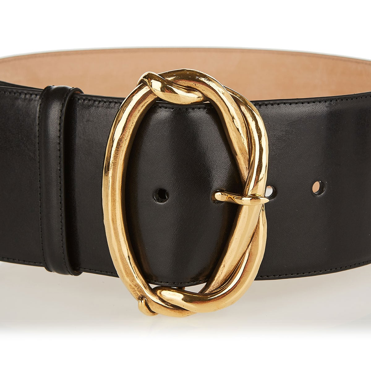 Wide belt with jeweled buckle