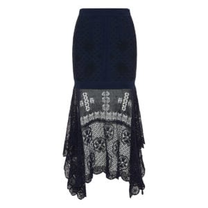 Asymmetric draped lace knitted skirt