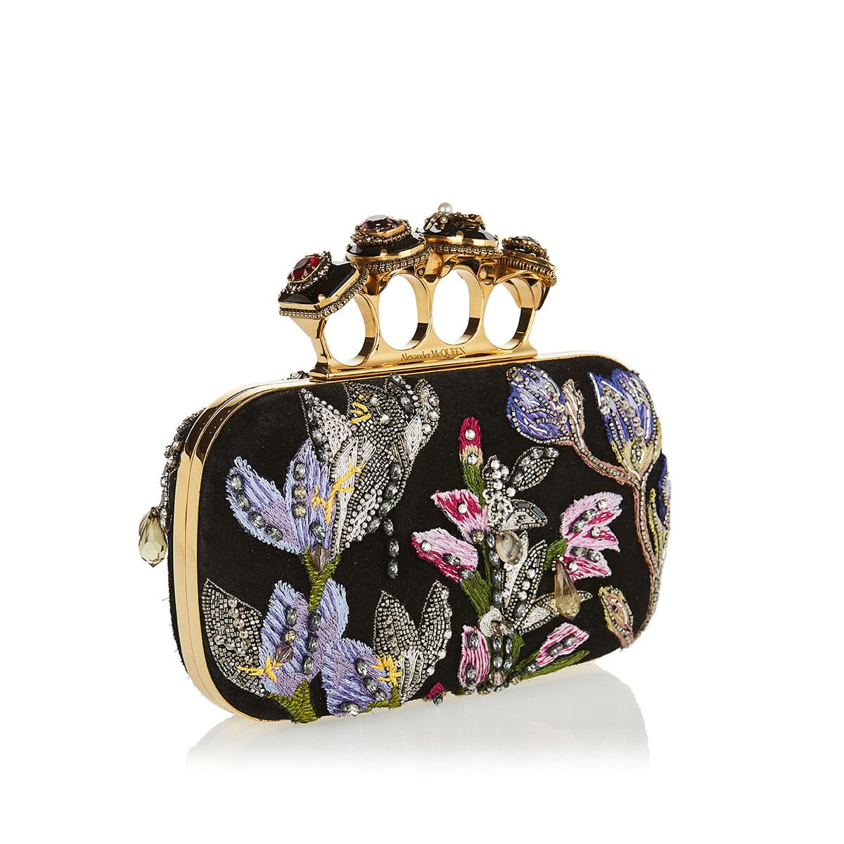 Four Ring embroidered crystal box clutch