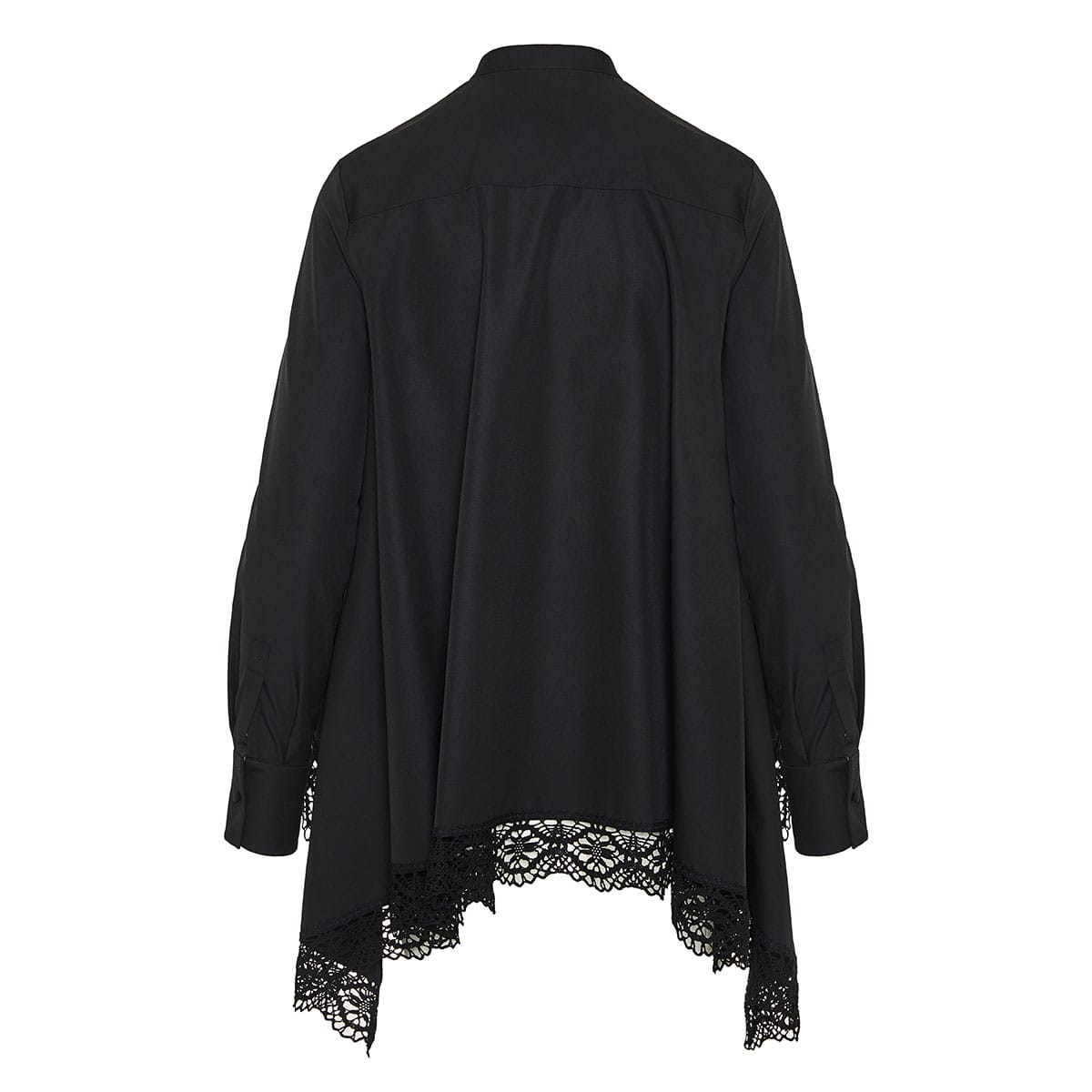 Lace-trimmed asymmetric draped shirt