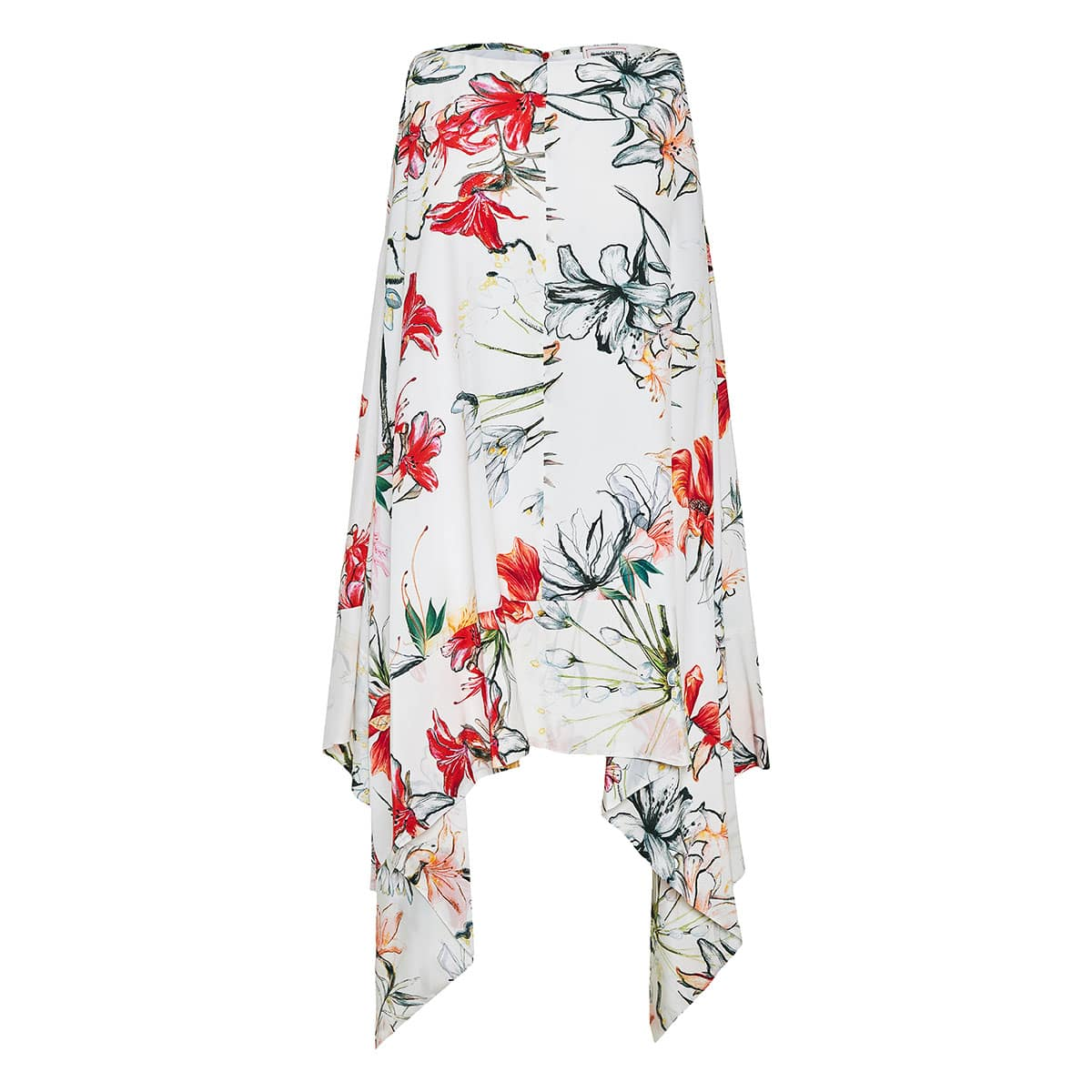 Asymmetric floral silk dress