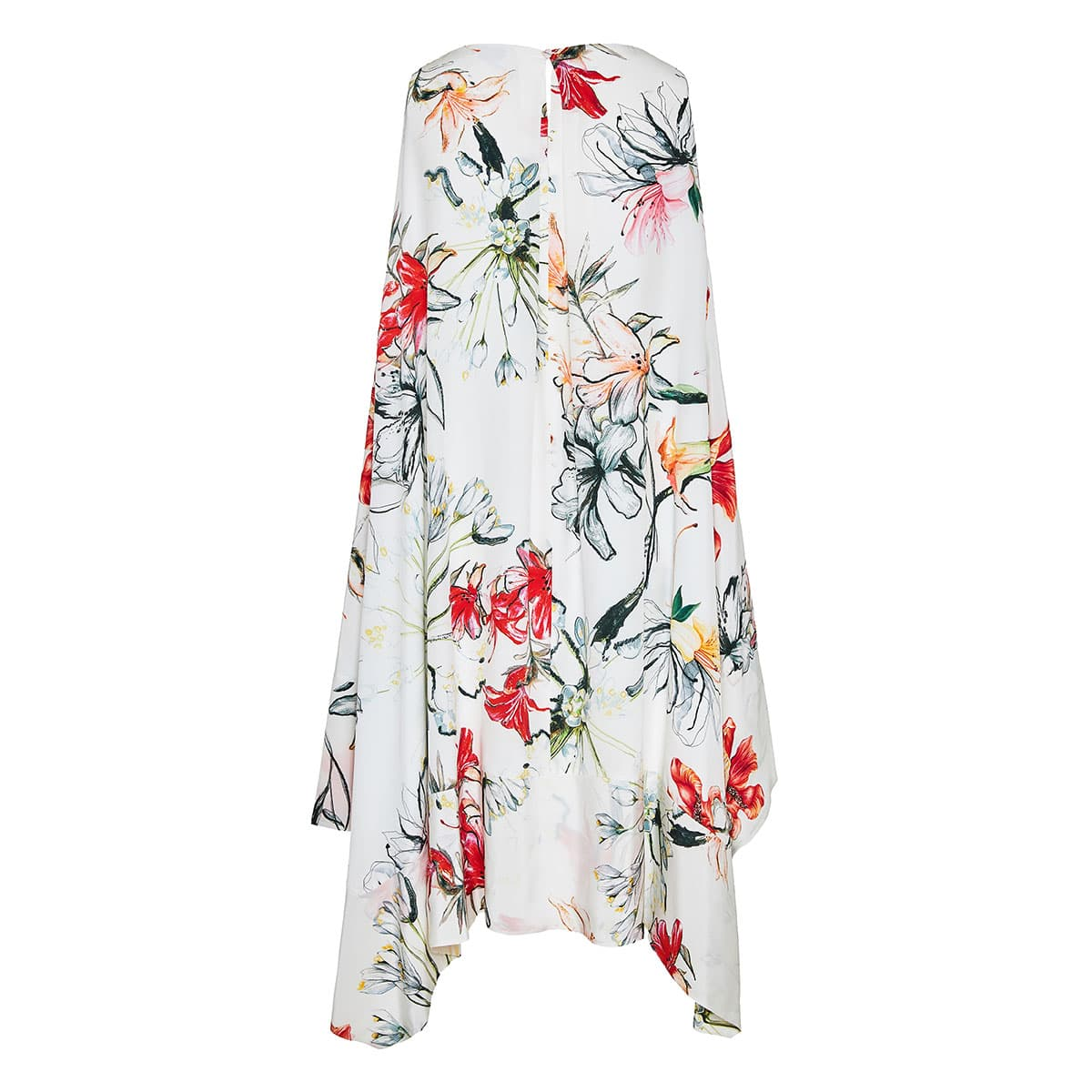 Asymmetric floral silk dress