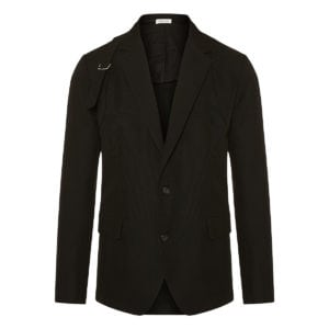 Harness-detailed single-breasted blazer