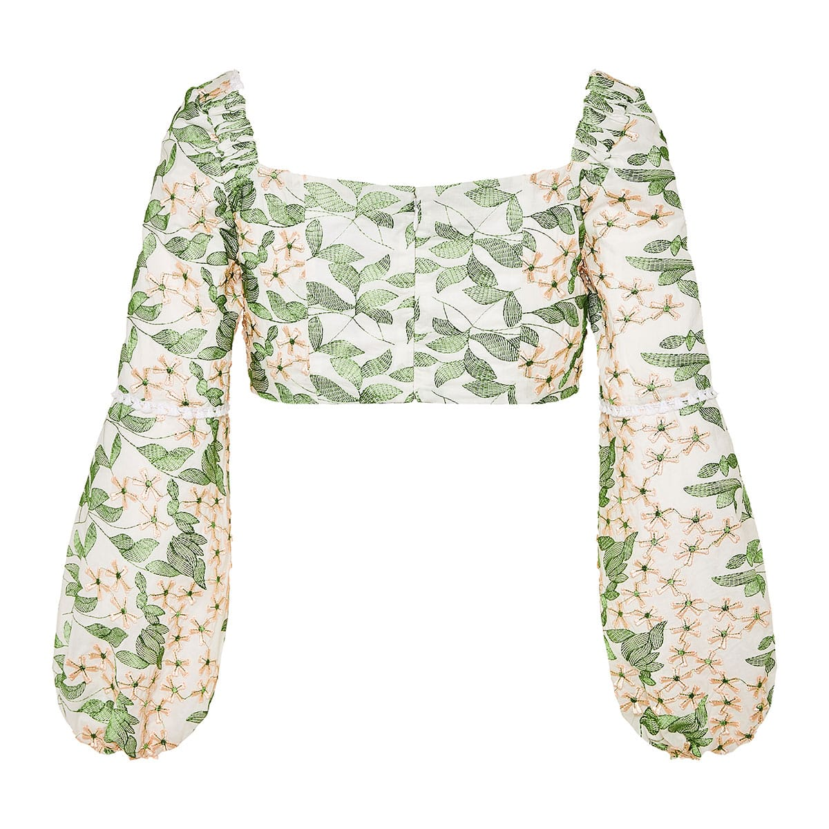 Ikala floral-embroidered cropped top