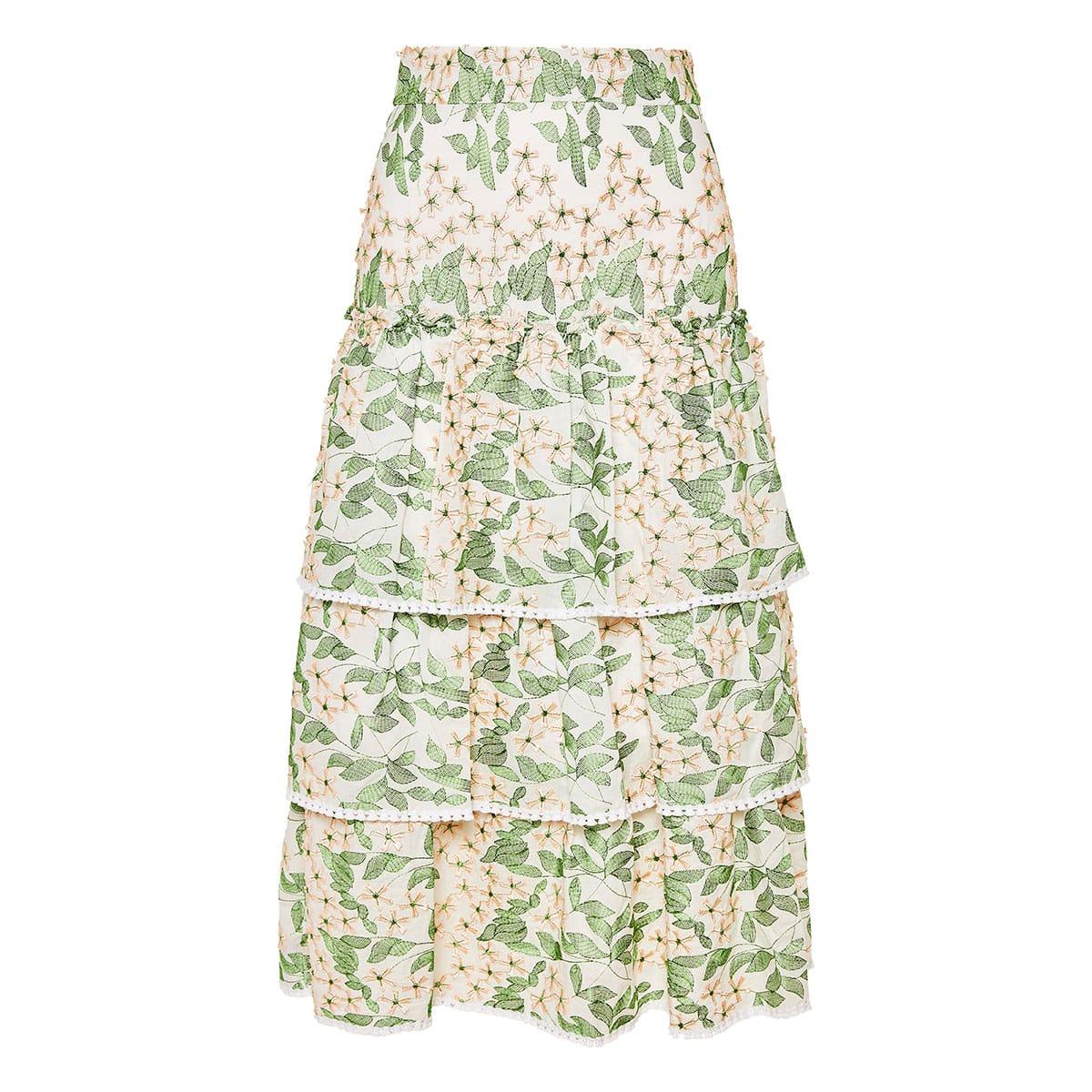 Aditya floral-embroidered tiered midi skirt
