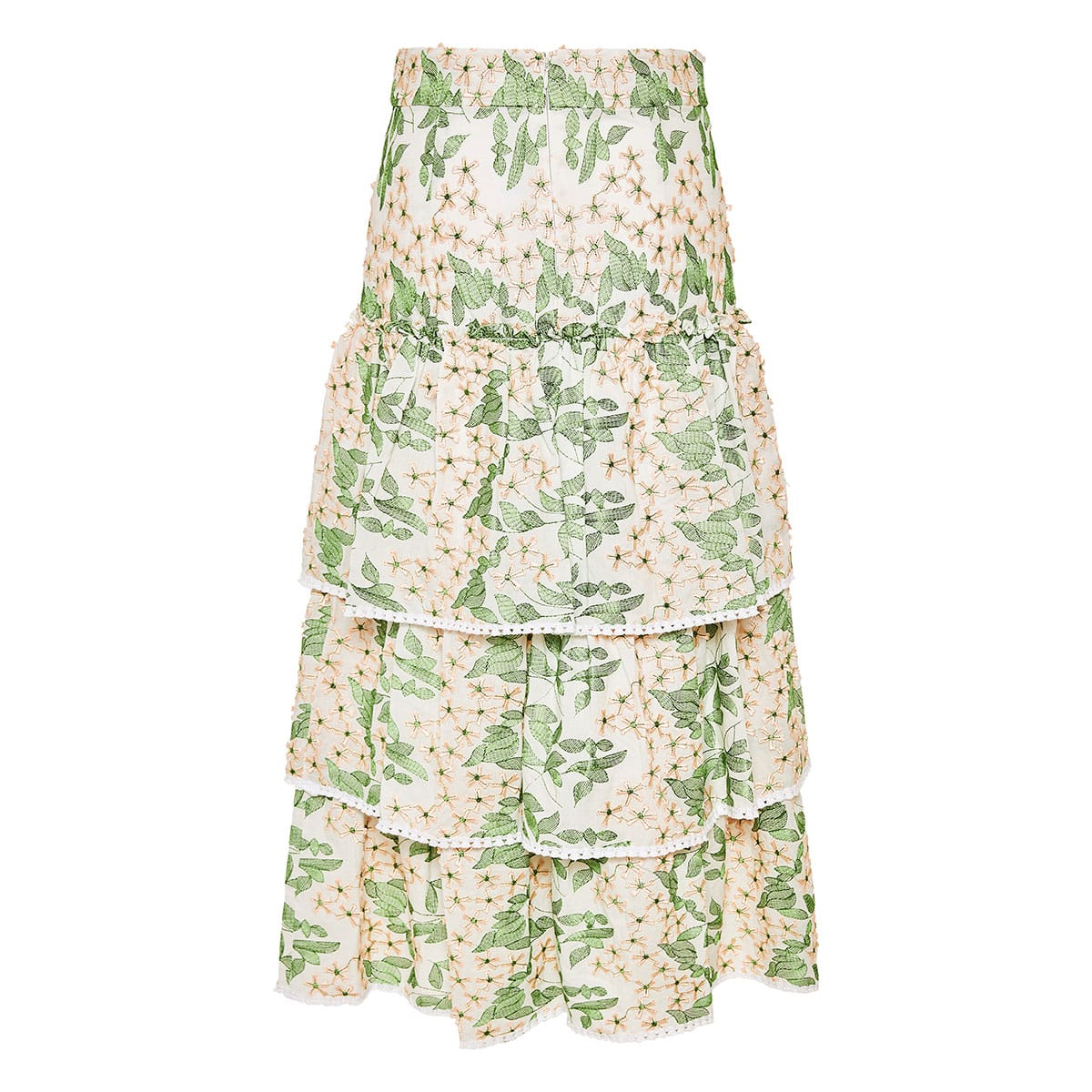 Aditya floral-embroidered tiered midi skirt