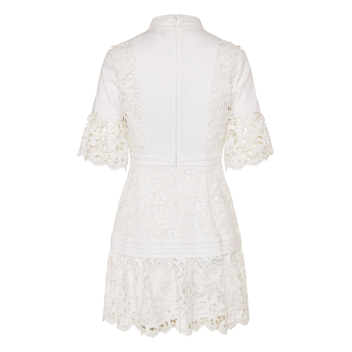Lace-paneled mini shirt dress
