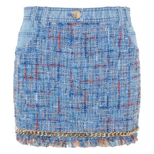 Chain-trimmed tweed and denim skirt