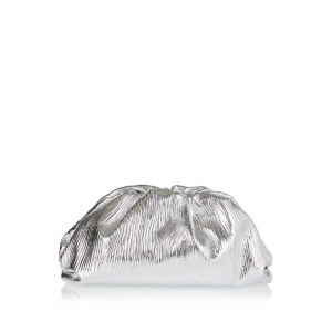 The Pouch metallic-leather large clutch