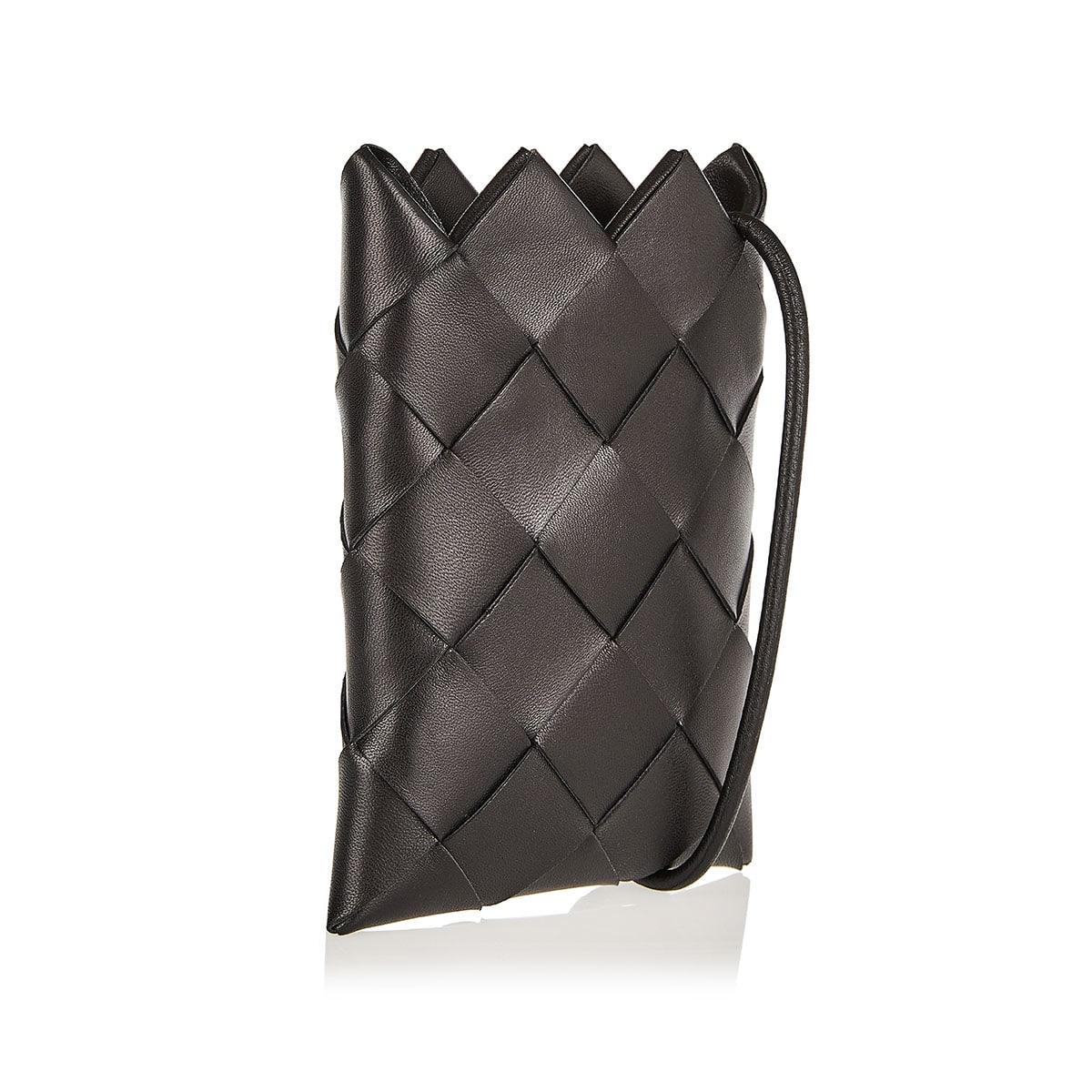 Intrecciato mini leather pouch