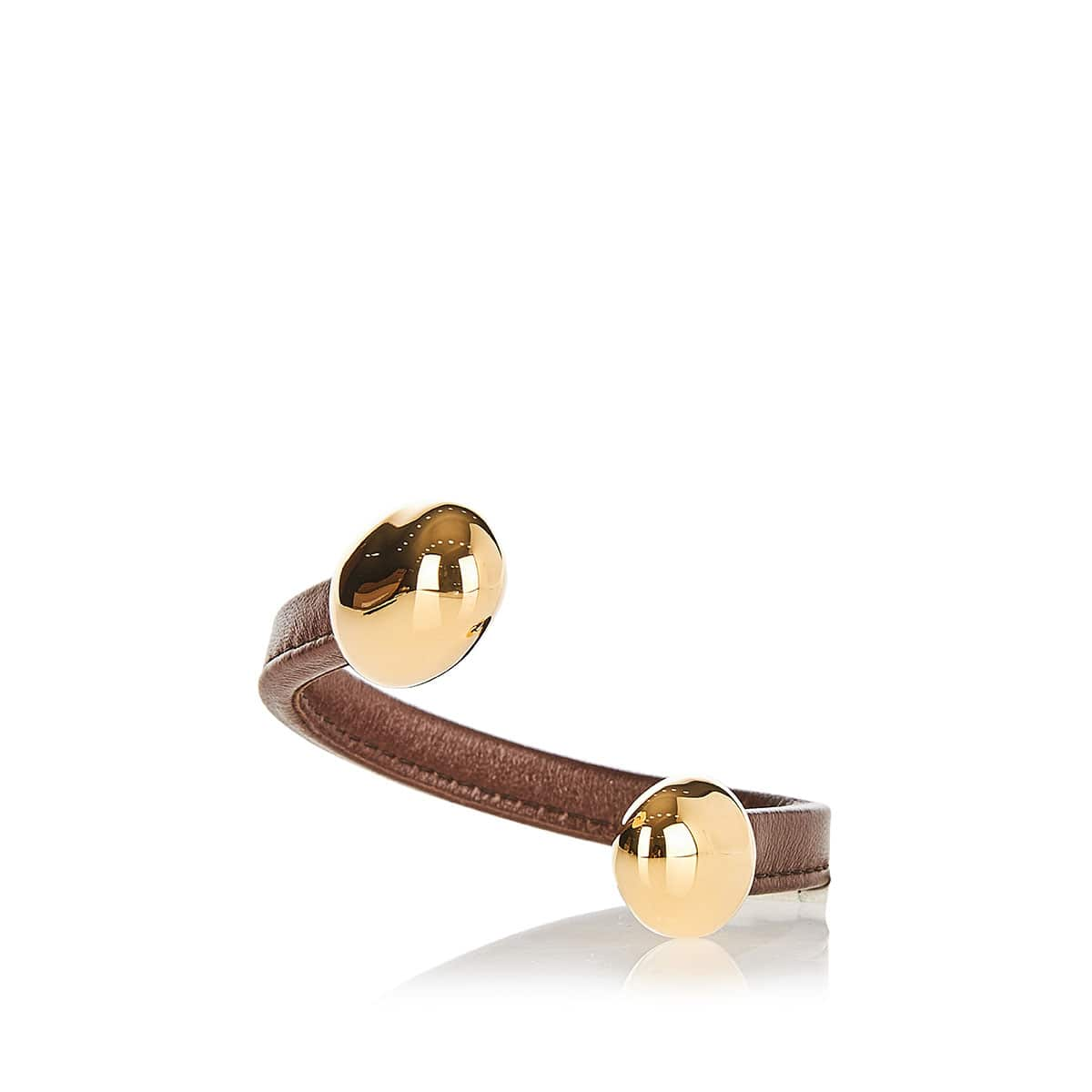 Leather bracelet with metal tips