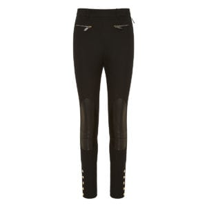 Skinny trousers with leather patches
