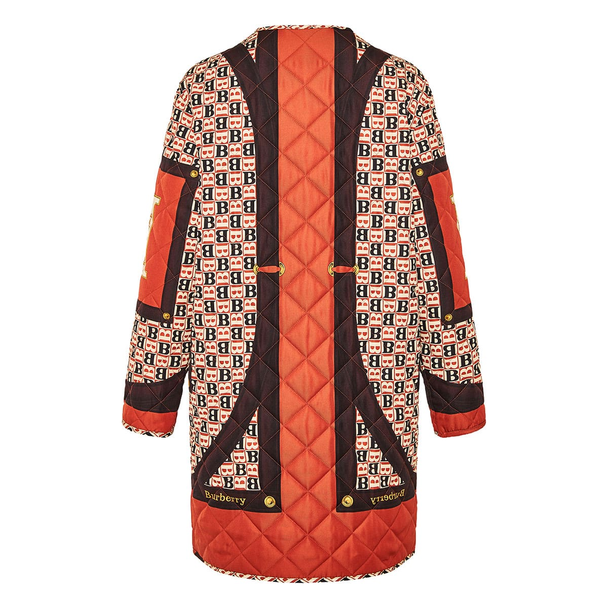 Scarf print quilted coat