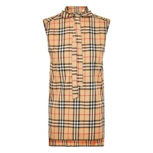 Vintage Check bow-tie sleeveless shirt