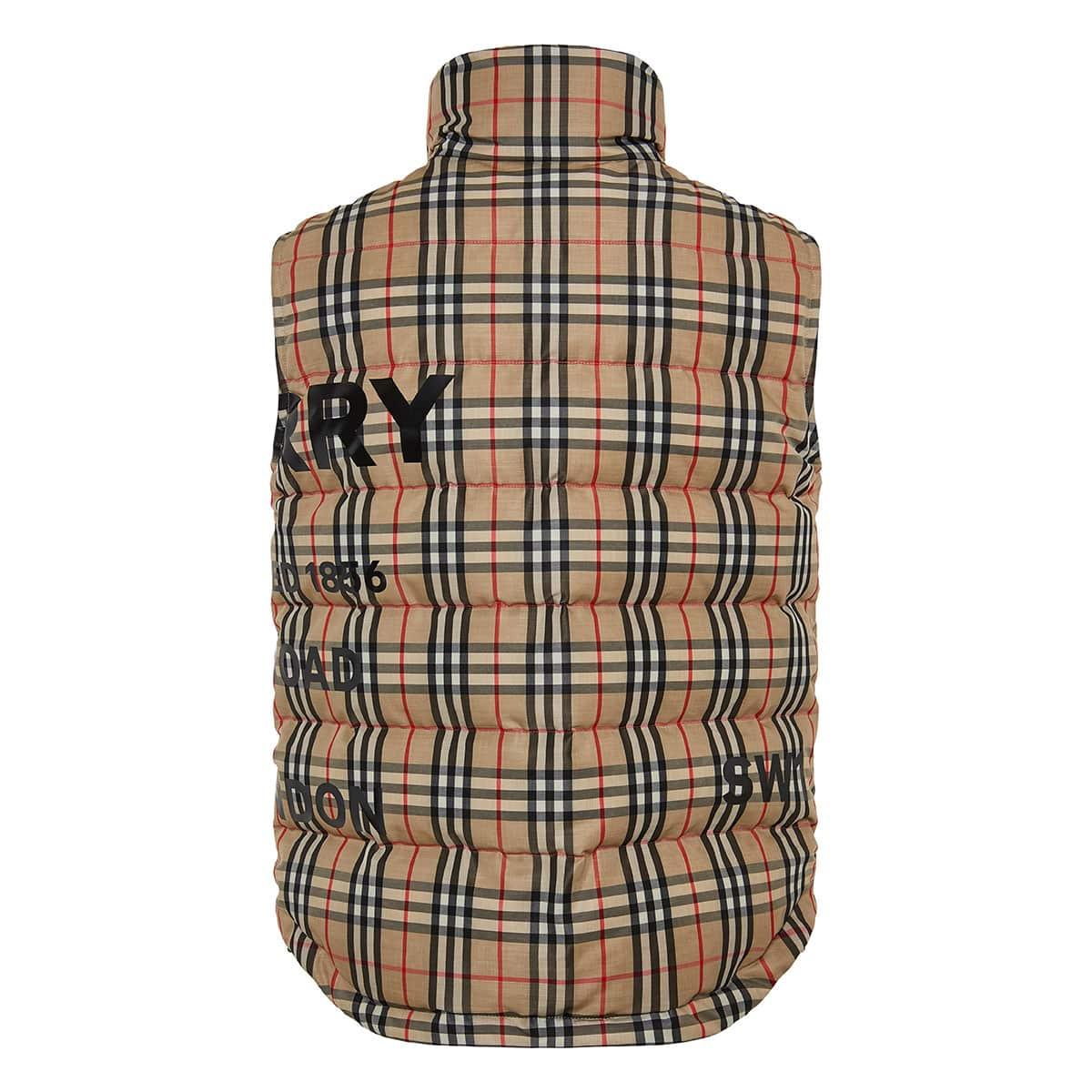 Vintage Check logo puffer vest