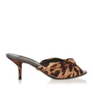 Keira leopard knotted silk mules