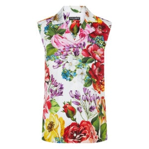 Floral sleeveless cotton shirt