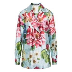 Double-breasted floral silk blazer