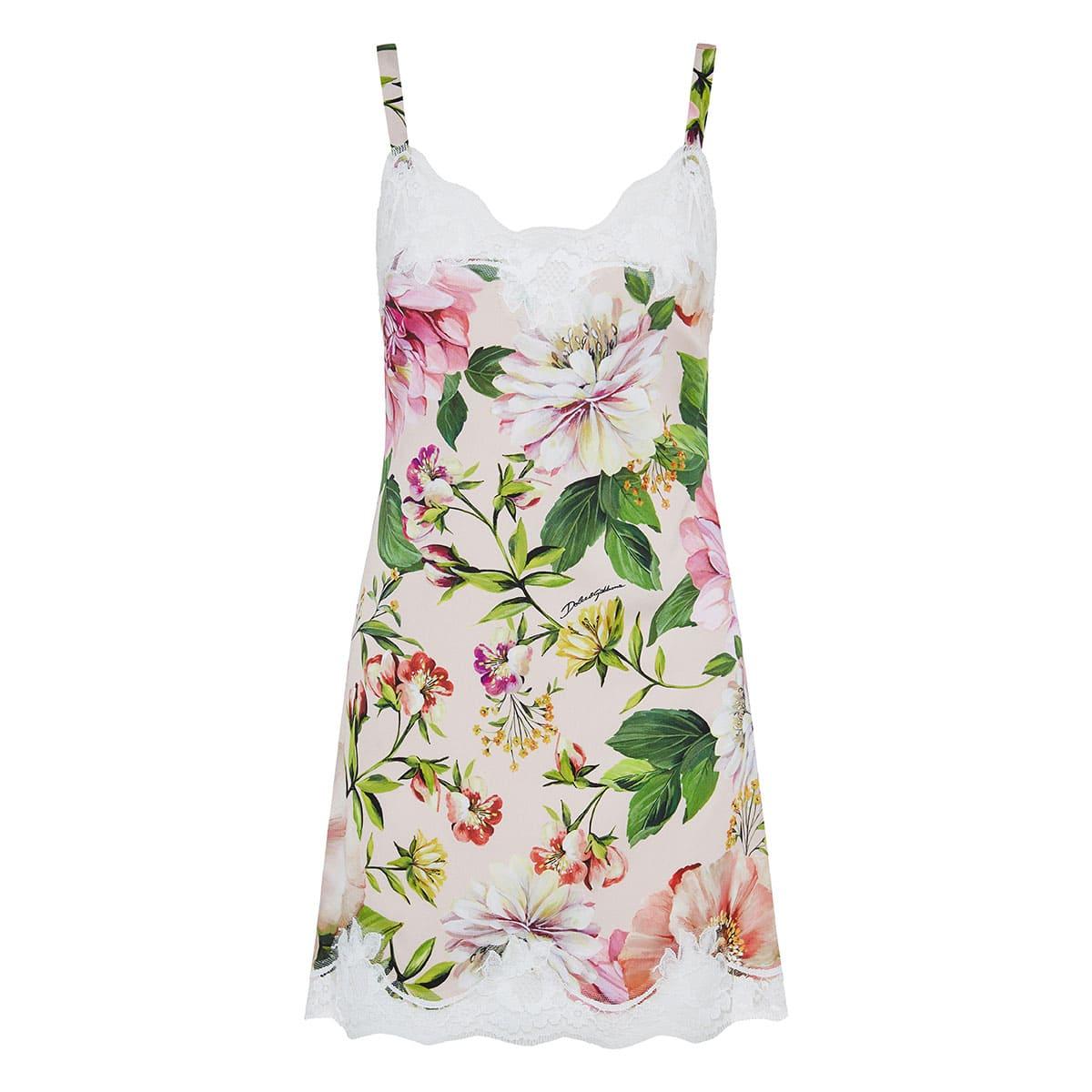 Lace-trimmed floral slip dress