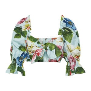 Puff-sleeved floral knotted cropped top