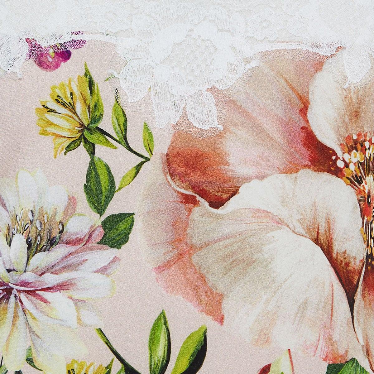 Lace-trimmed floral slip top