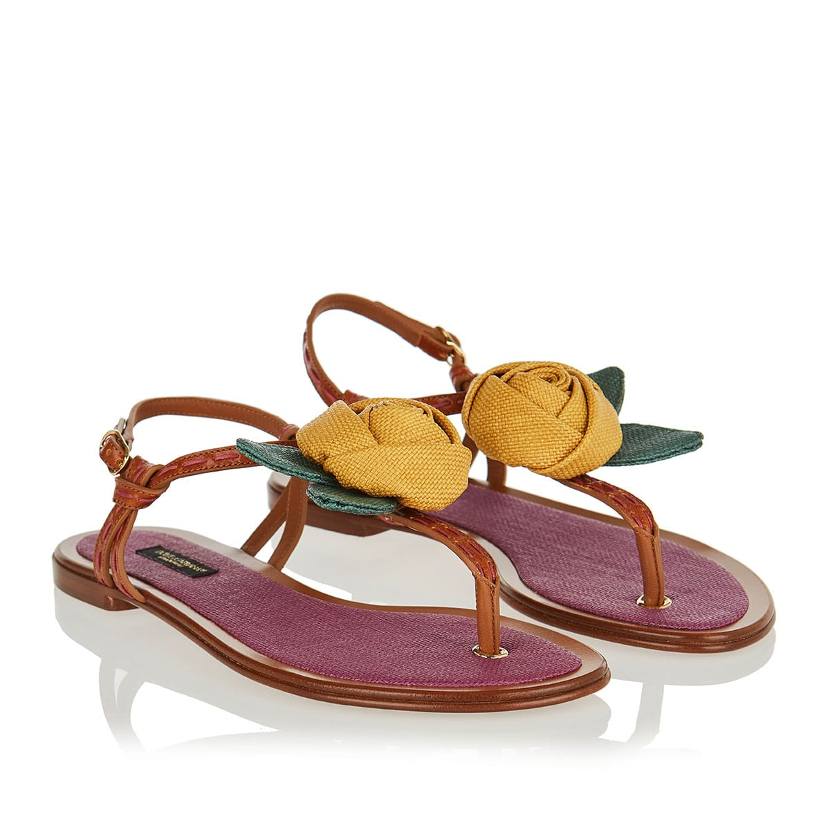 Flower appliqué flat sandals