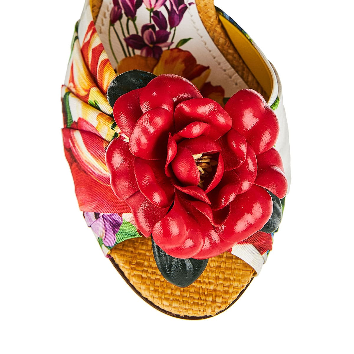 Embellished silk and straw floral sandals