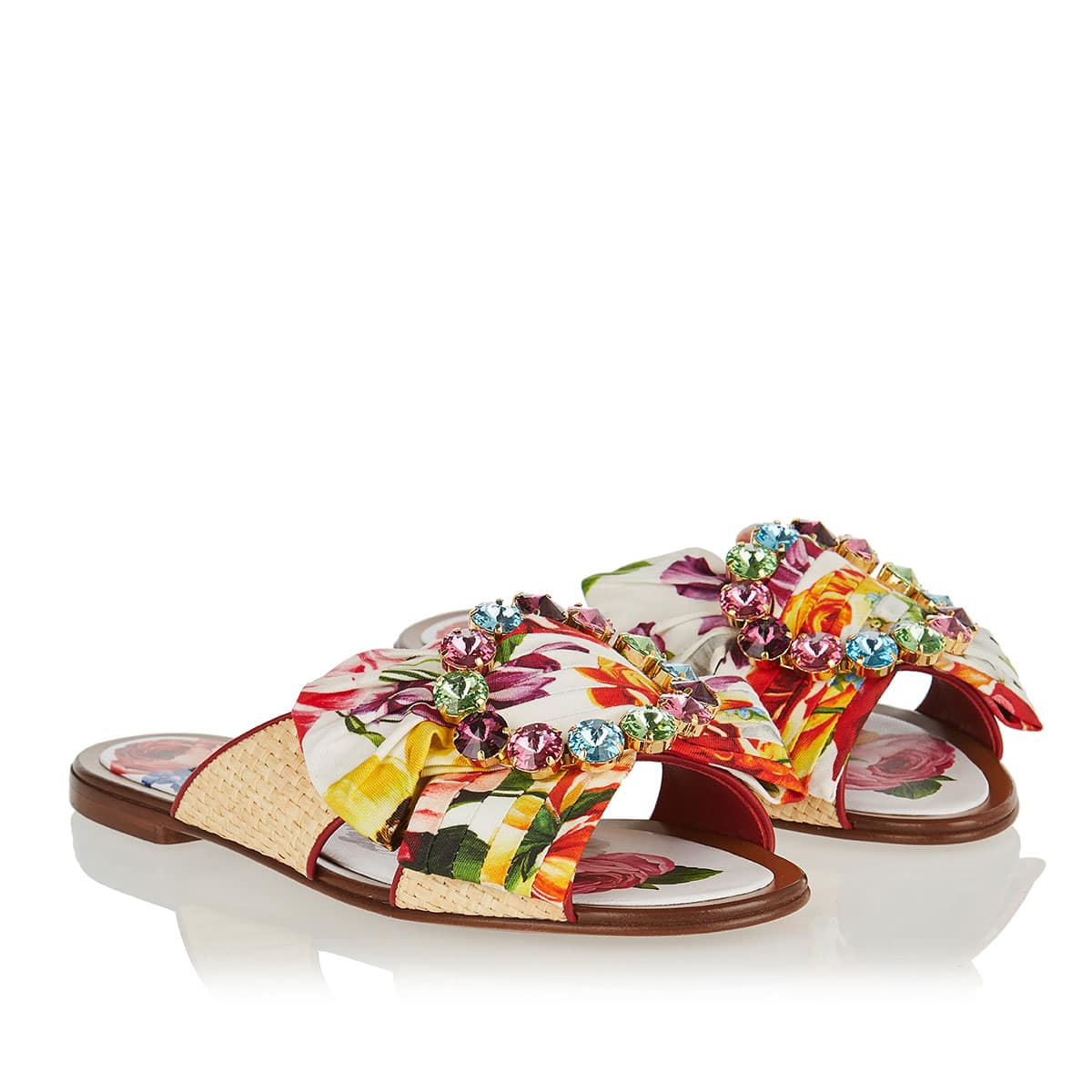 Crystal and bow floral flat sandals